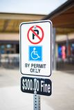 Street sign. That warns driver that if they parked in the area without proper permit they are going to get 300 dollar fine Royalty Free Stock Photography
