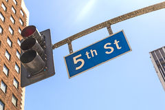 Street sign 5th street downtown Los Angeles Royalty Free Stock Photo
