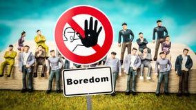 Street Sign to Adventure versus Boredom. Street Sign the Direction Way to Adventure versus Boredom stock images