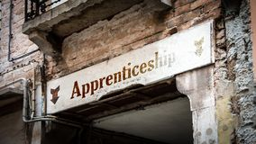 Street Sign to Apprenticeship. Street Sign the Direction Way to Apprenticeship stock photography