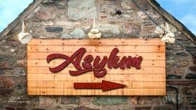 Street Sign to Asylum. Street Sign the Direction Way to Asylum royalty free stock images