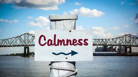 Street Sign to Calmness. Street Sign the Direction Way to Calmness stock photos