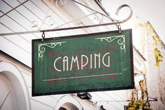 Street Sign to Camping. Street Sign the Direction Way to Camping royalty free stock photos