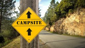 Street Sign to Campsite. Street Sign the Direction Way to Campsite stock illustration