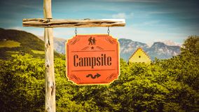 Street Sign to Campsite. Street Sign the Direction Way to Campsite royalty free stock images