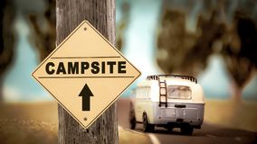 Street Sign to Campsite. Street Sign the Direction Way to Campsite royalty free stock image
