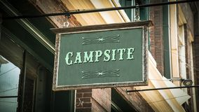 Street Sign to Campsite. Street Sign the Direction Way to Campsite stock photos