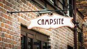 Street Sign to Campsite. Street Sign the Direction Way to Campsite royalty free stock photography