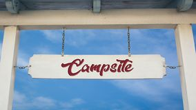Street Sign to Campsite. Street Sign the Direction Way to Campsite royalty free stock photo