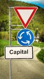 Street Sign to Capital. Street Sign the Direction Way to Capital royalty free stock photos
