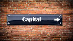 Street Sign to Capital. Street Sign the Direction Way to Capital stock image