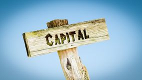 Street Sign to Capital. Street Sign theDirection Way to Capital royalty free stock images