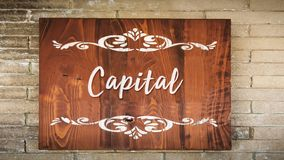 Street Sign to Capital. Street Sign theDirection Way to Capital royalty free stock image