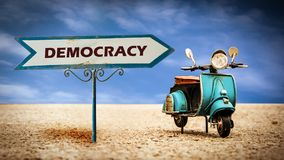 Street Sign to Democracy. Street Sign the Direction Way to Democracy stock images