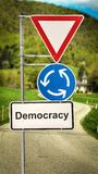 Street Sign to Democracy. Street Sign the Direction Way to Democracy royalty free stock images