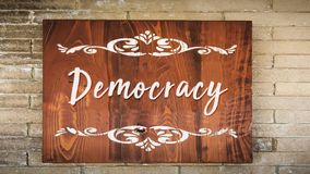 Street Sign to Democracy. Street Sign the Direction Way to Democracy royalty free stock image