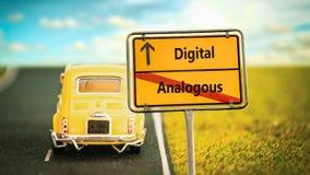 Street Sign to Digital versus Analogous. Street Sign the Direction Way to Digital versus Analogous stock image