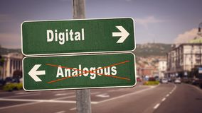 Street Sign to Digital versus Analogous. Street Sign the Direction Way to Digital versus Analogous vector illustration