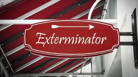 Street Sign to Exterminator. Street Sign the Direction Way to Exterminator stock image