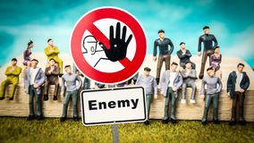Street Sign to Friend versus Enemy. Street Sign the Direction Way to Friend versus Enemy royalty free stock image