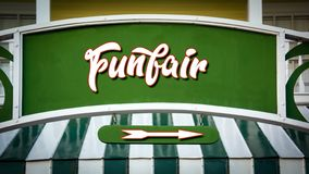 Street Sign to Funfair. Street Sign the Direction Way to Funfair stock photo