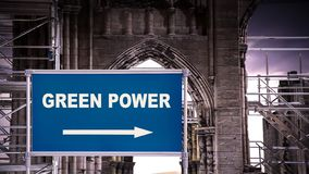 Street Sign to Green Power. Street Sign the Direction Way to Green Power vector illustration