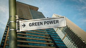 Street Sign to Green Power. Street Sign the Direction Way to Green Power royalty free stock photo