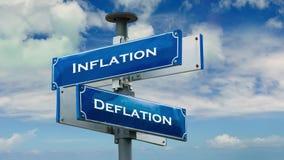 Street Sign to Inflation versus Deflation