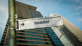 Street Sign to Investor. Street Sign the Direction Way to Investor stock images