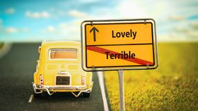 Street Sign to Lovely versus Terrible. Street Sign the Direction Way to Lovely versus Terrible stock photos
