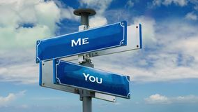 Street Sign to Me versus You. Street Sign the Direction Way to Me versus You stock footage
