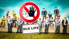 Street Sign to NEW LIFE versus OLD LIFE. Street Sign the Direction Way to NEW LIFE versus OLD LIFE royalty free stock image