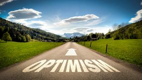 Street Sign to Optimism. Street Sign the Direction Way to Optimism stock photo