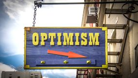 Street Sign to Optimism. Shop royalty free stock image