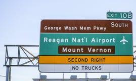 Street sign to Reagan National Airport in Washington DC - WASHINGTON, DISTRICT OF COLUMBIA - APRIL 8, 2017 stock images