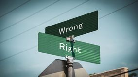Street Sign to Right versus Wrong. Street Sign the Direction Way to Right versus Wrong royalty free stock photos