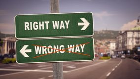 Street Sign to RIGHT WAY versus WRONG WAY. Street Sign RIGHT WAY versus WRONG WAY royalty free stock image