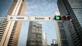 Street Sign to Success versus Failure. Street Sign the Direction Way to Success versus Failure stock photo