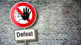 Street Sign Victory versus Defeat. Street Sign to Victory versus Defeat royalty free stock images
