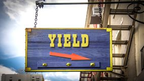 Street Sign to Yield. Street Sign the Direction Way to Yield royalty free stock photo