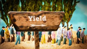 Street Sign to Yield. Street Sign the Direction Way to Yield stock photography