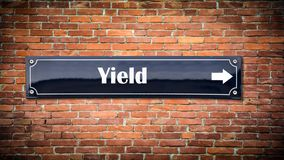 Street Sign to Yield. Street Sign the Direction Way to Yield royalty free stock photos