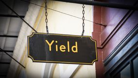 Street Sign to Yield. Street Sign the Direction Way to Yield royalty free stock image