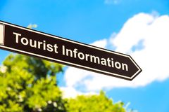 Street sign `Tourist information`, signpost, direction sign in Budapest. Street sign `Tourist information`, signpost, direction sign, Budapest, Hungary, Europe royalty free stock photography