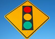Street Sign - Traffic Light Ahead royalty free stock photo