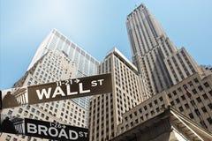 Street sign Wall street stock photos