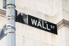 Street sign at Wall Street in Manhattan Financial District in Ne Stock Photos