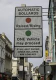 A street sign warning drivers of automatic bollards in Bold Stre. Et Liverpool May 2018 Stock Photography