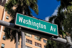 Street sign of Washington Avenue in Miami South Beach Stock Image