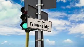 Street Sign to Friendship. Street Sign the Way to Friendship stock footage